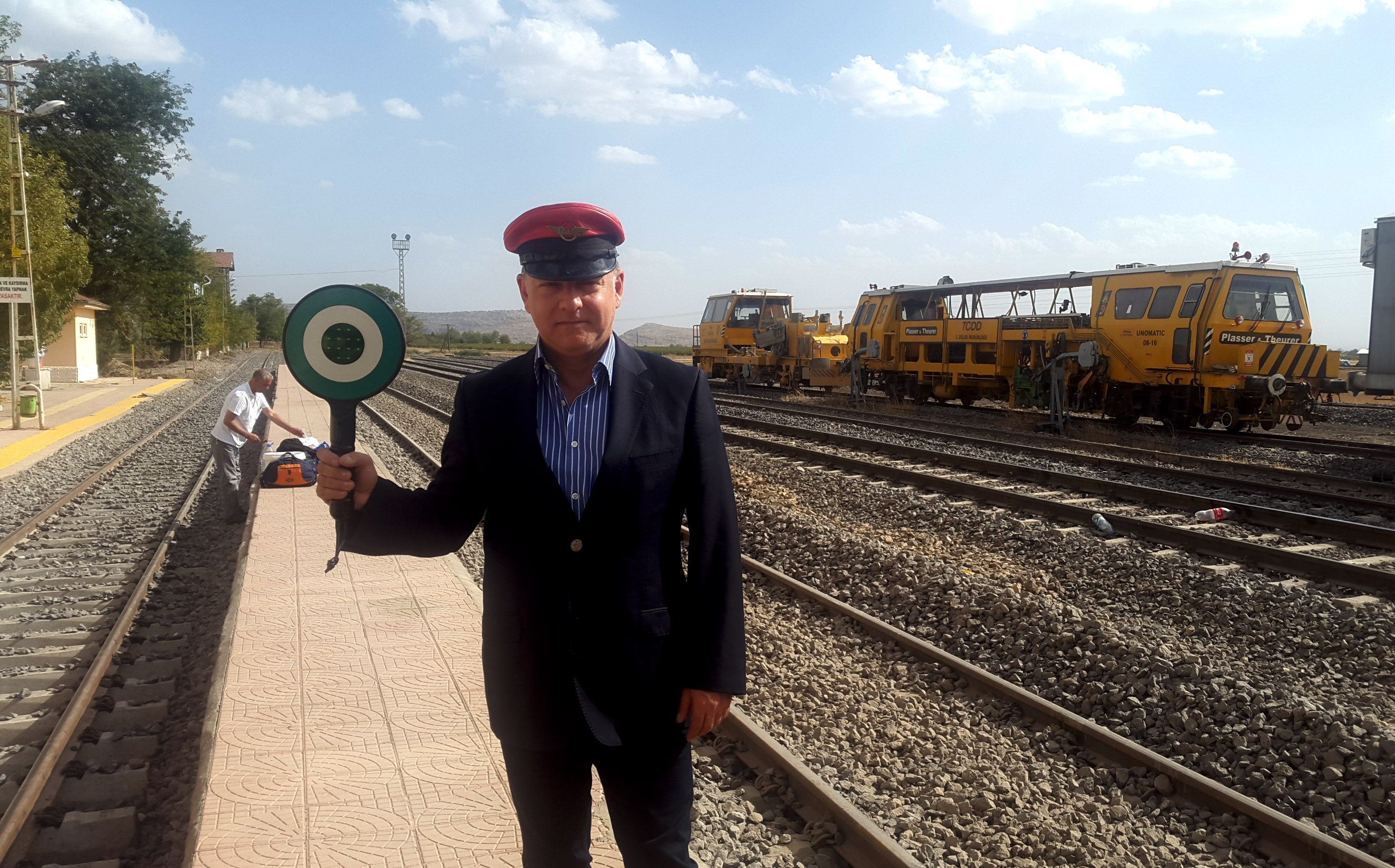 Pretend train conductor! at Ergani, Diyarbakır Province