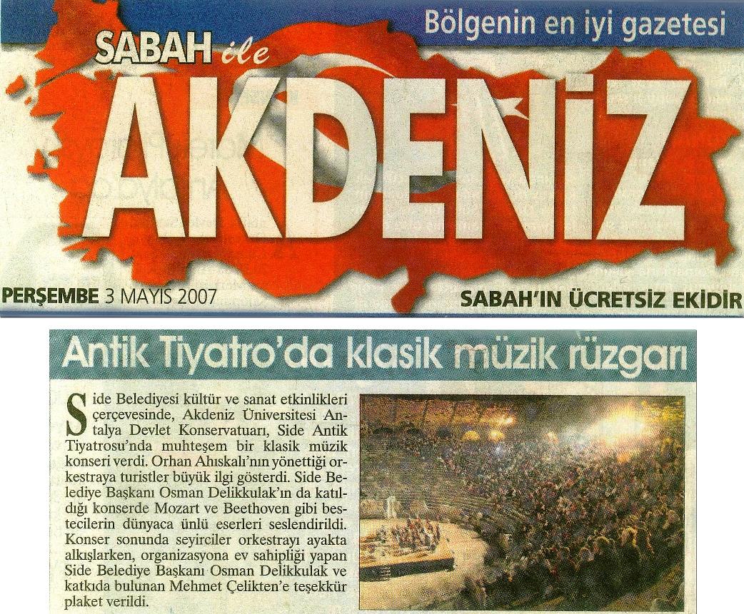 Side Antik Tiyatro konseri haberi, 03.05.2007