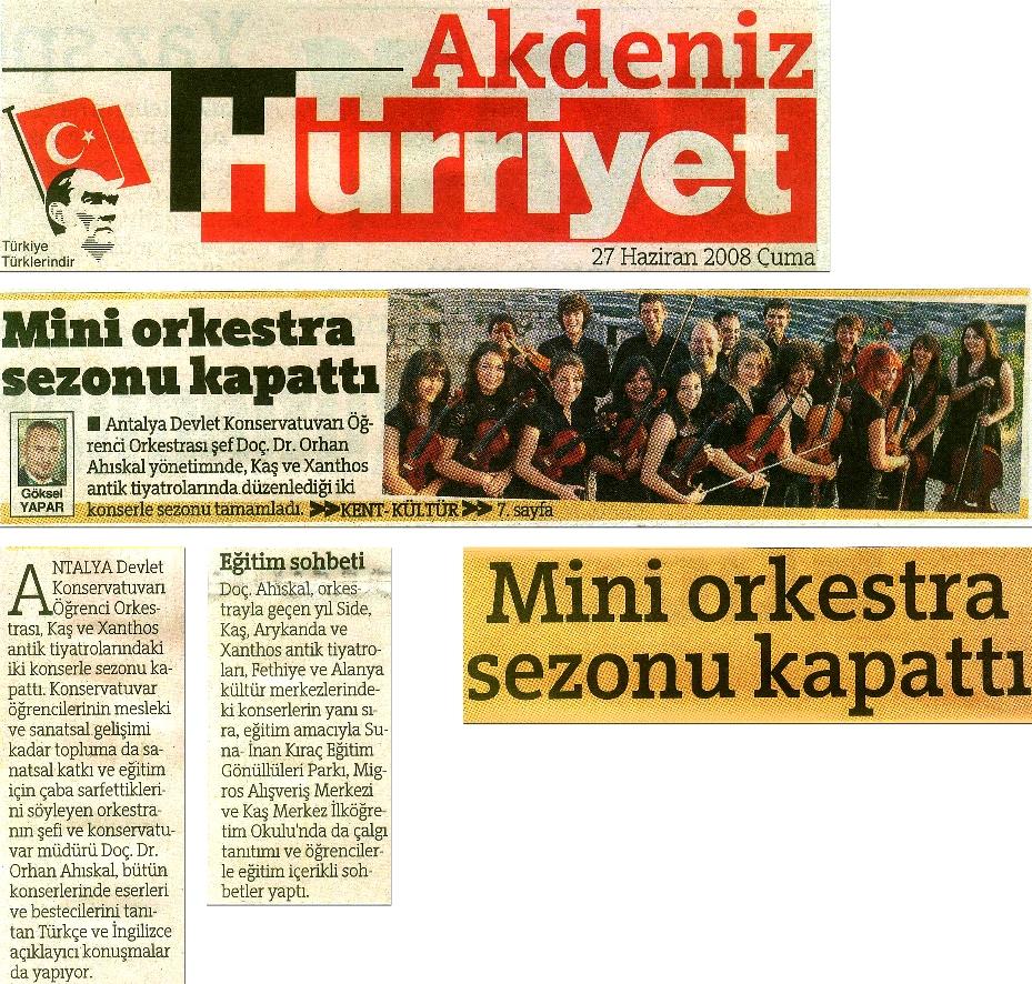 Kaş ve Xanthos Antik Tiyatrolardaki konserlerin haberi, 27.06.2008