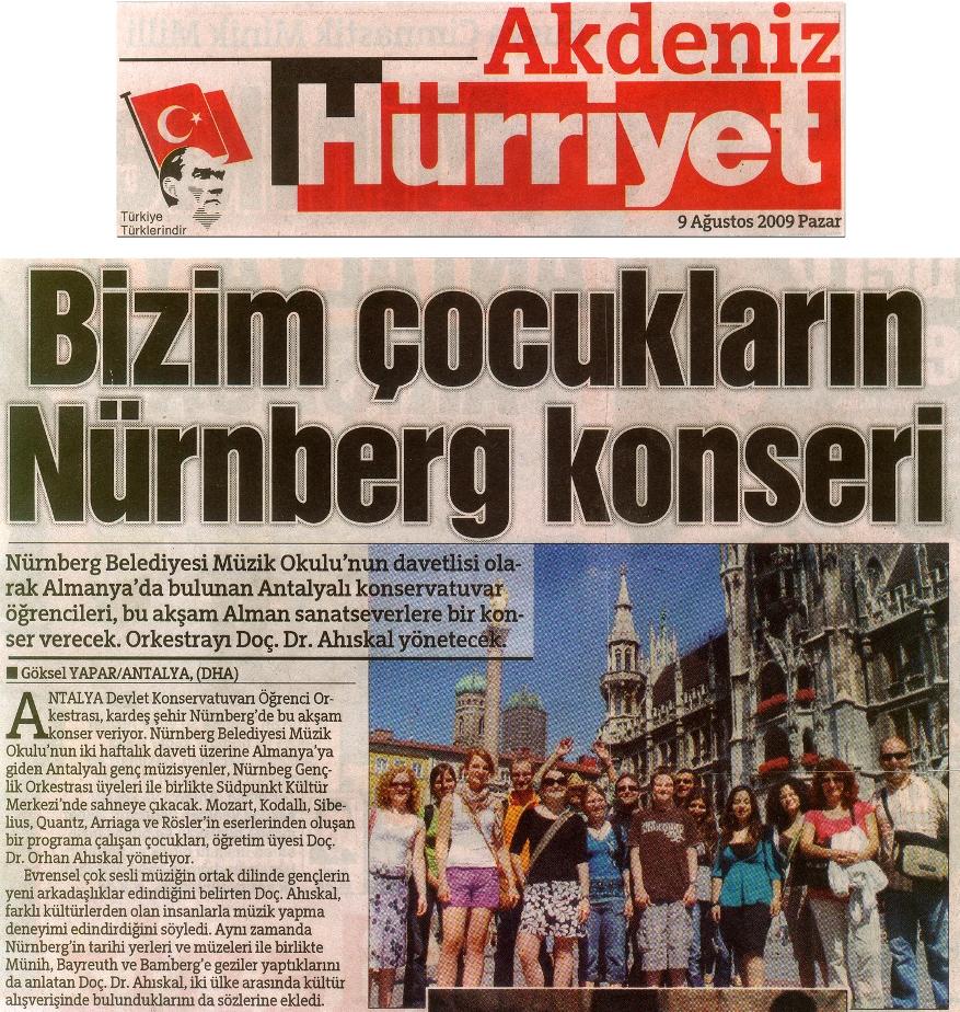 Antalya DK ile Nürnberg Gençlik Orkestrası iki hafta yaz kursu yaptı.