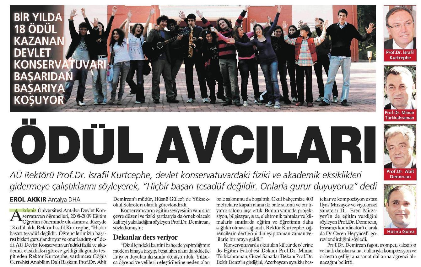 Milliyet Akdeniz 12.03.2009 tarihli sayısında haber