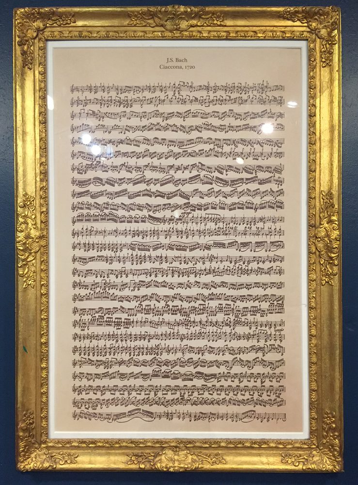 J.S. Bach's Ciaccona on a single page, printed by Gregory Singer Fine Violins, NYC