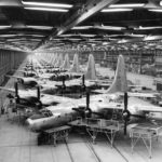 Consolidated TB-32 on the assembly line. The first three aircraft are TB-32-10-CF (S/N 42-108511-513). Although the other serial numbers aren't visible, it's almost a certainty the rest of the aircraft are the remainder of the TB-32 production (block 10 and 15, S/N 42-108511 to 42-108524). (U.S. Air Force photo)